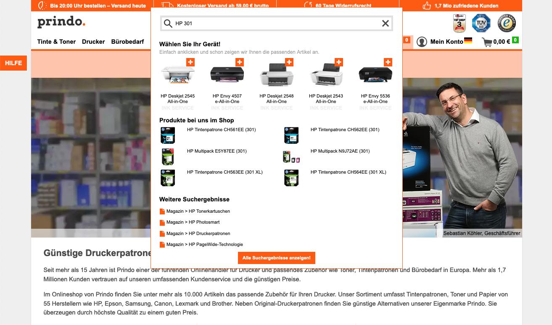 Umsetzung der Suche für Onlineshops auf www.prindo.de